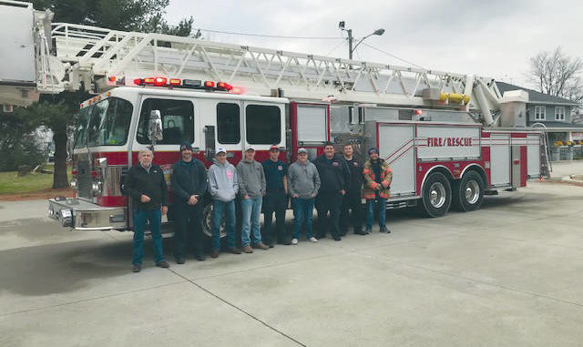 mt orab fd receives a 100 foot ladder truck from port authority